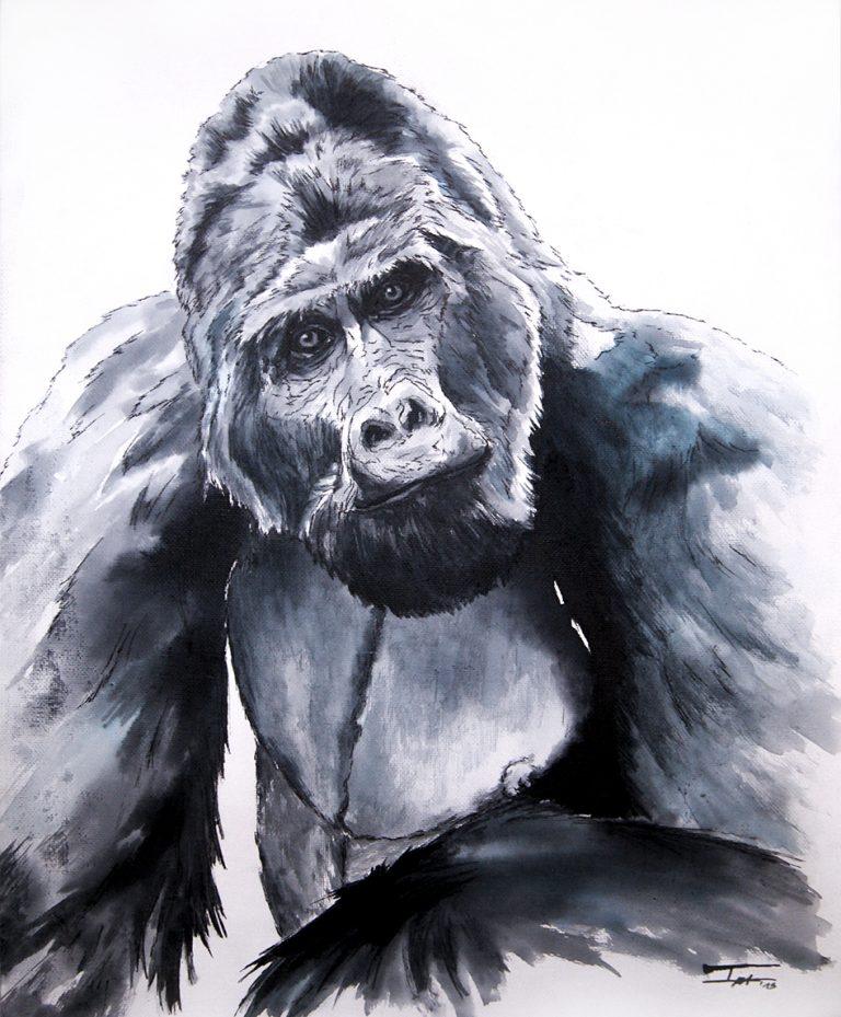Gorila watercolor in table